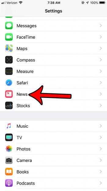 открыть настройки новостей iphone