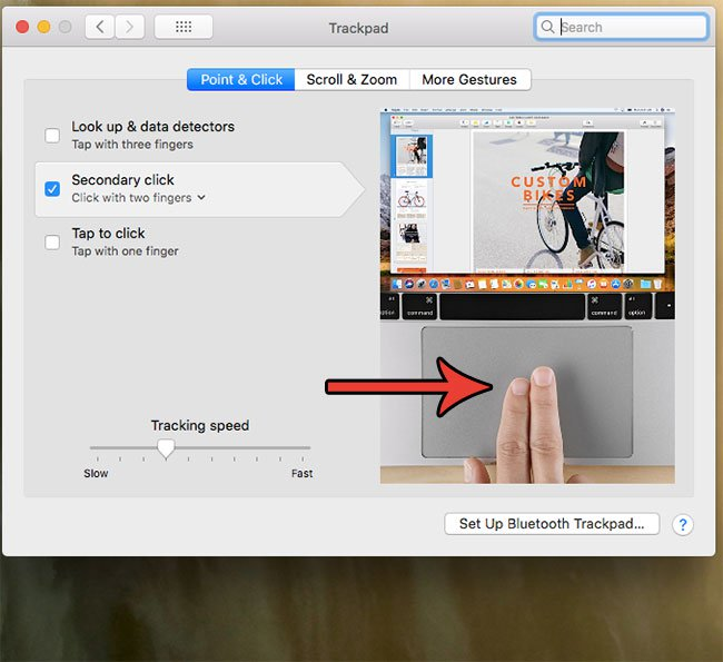 как щелкнуть правой кнопкой мыши двумя пальцами на MacBook Air
