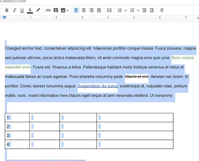выделенный текст с таким же форматированием в Google Docs