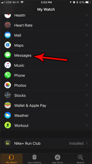 Настройки сообщений Apple Watch