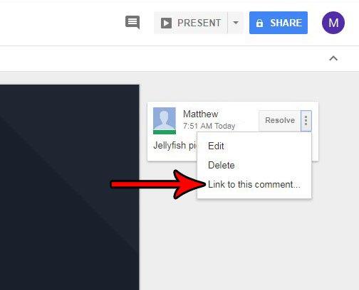 Как отправить ссылку на комментарий Google Slides