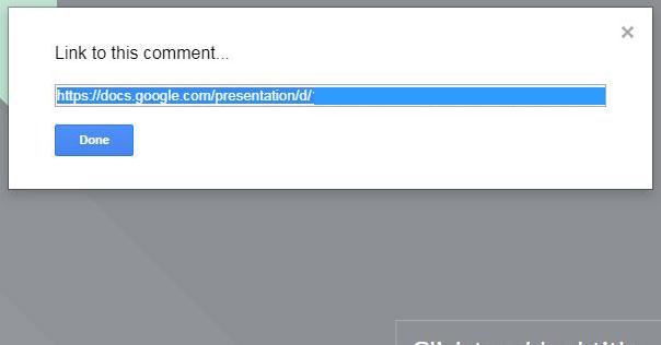 создать и отправить ссылку на комментарий в слайды Google