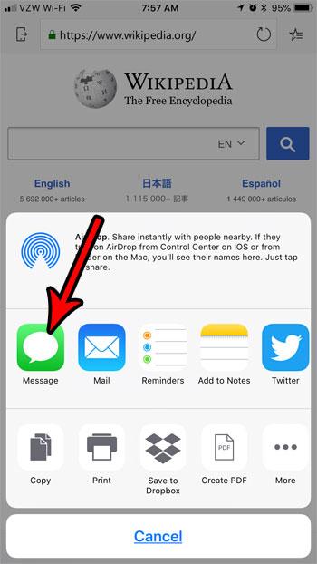 текстовое сообщение край веб-страницы iphone