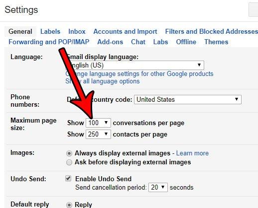 как показать больше разговоров на странице в Gmail