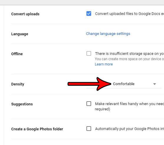 изменить плотность отображения файлов в Google Drive