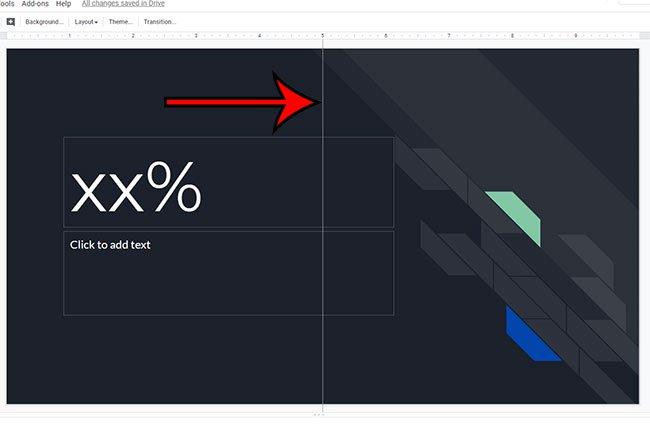 пример вертикальной направляющей в Google Slides