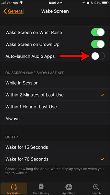 как остановить автозапуск аудио приложений apple watch