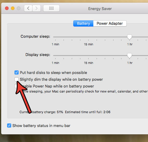 остановить экранную форму затемнения при работе на аккумуляторе MacBook