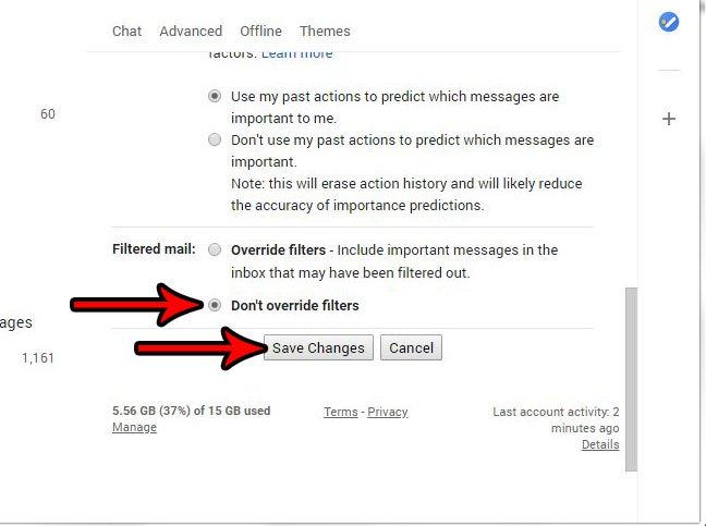 как перестать переопределять фильтры в gmail
