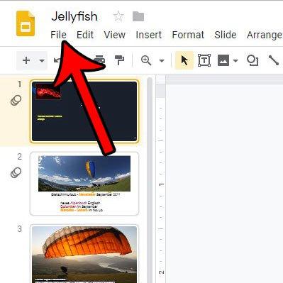 меню файла слайдов Google