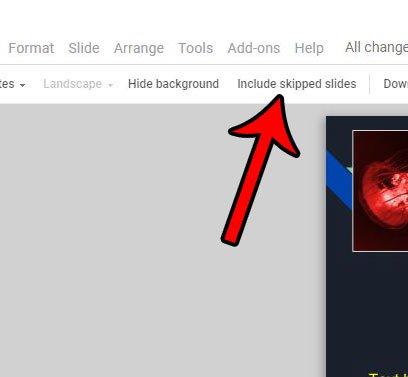как остановить печать пропущенных слайдов в слайдах Google