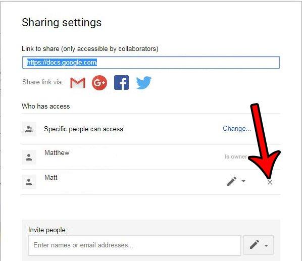 как удалить разрешения на совместное использование для кого-то в Google Docs