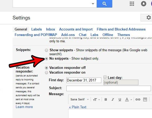 как перестать показывать фрагменты в gmail