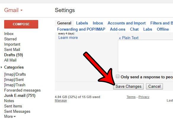 сохранить изменения в настройках Gmail
