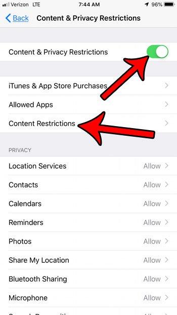 включить ограничения контента на iphone