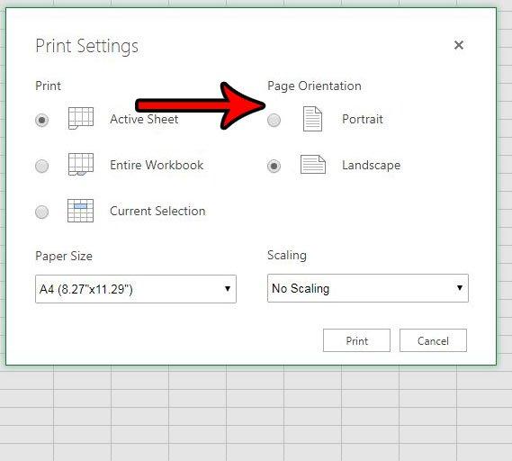 Как изменить ориентацию страницы в Excel онлайн