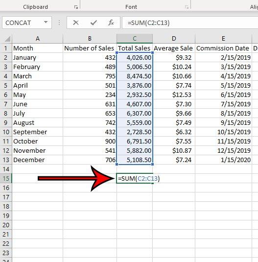 Как добавить значения в столбце в Microsoft Excel для Office 365
