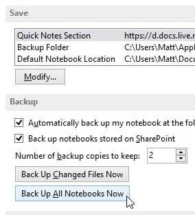 как создать резервную копию в onenote 2013