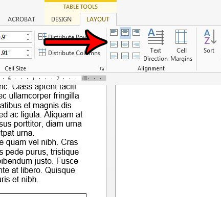 как центрировать текст в таблице в слове