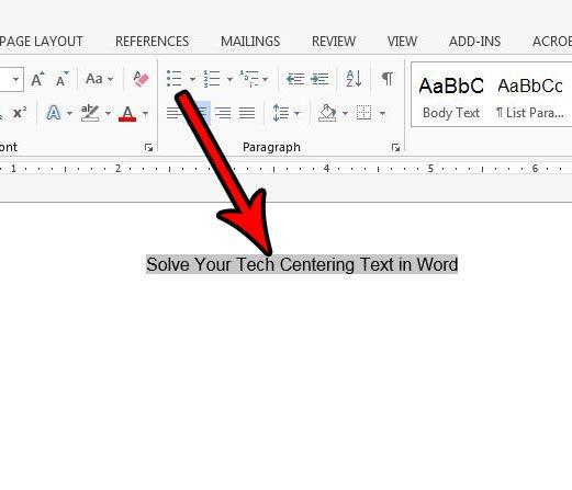 как центрировать текст в слове