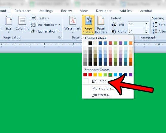 как изменить цвет фона в слове