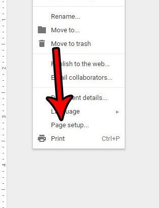 откройте меню настроек страницы Google Документов