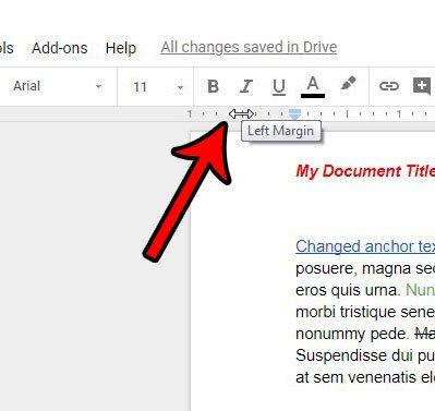 щелкая и перетаскивая, чтобы изменить поля в Google Документах