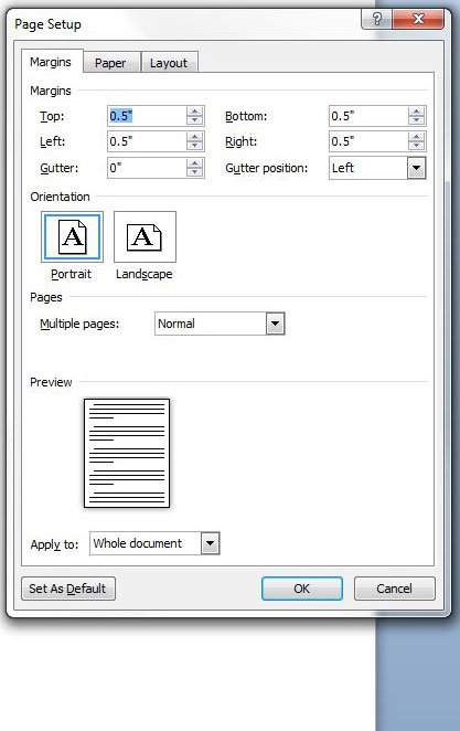Как настроить поля страницы в Word 2010