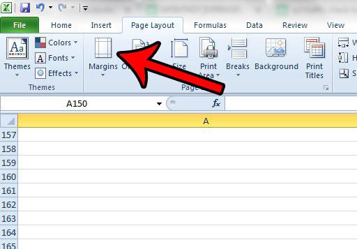как использовать меньшие поля страницы в Excel 2010