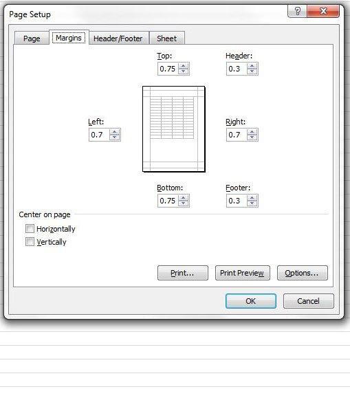 Как установить поля страницы в Excel 2010