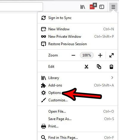 меню настроек Firefox