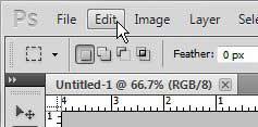 откройте меню редактирования в Photoshop CS5