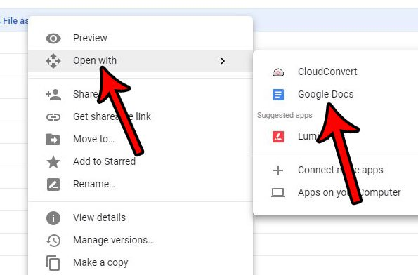 откройте загруженный PDF-файл с Google Docs, чтобы выполнить преобразование