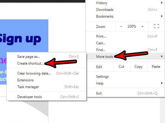 создать ярлык веб-страницы в Google Chrome