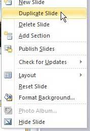 как дублировать слайд в powerpoint 2010