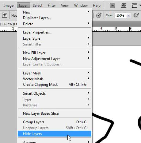 скрыть слои Photoshop из меню слоев