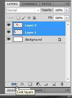 как связать два слоя в фотошопе cs5