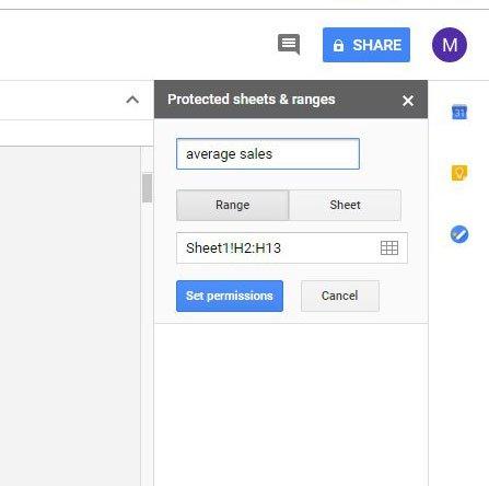 установить разрешения для диапазона в листах Google