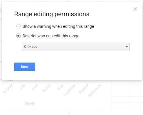 выбрать разрешения для выбранного диапазона в листах Google