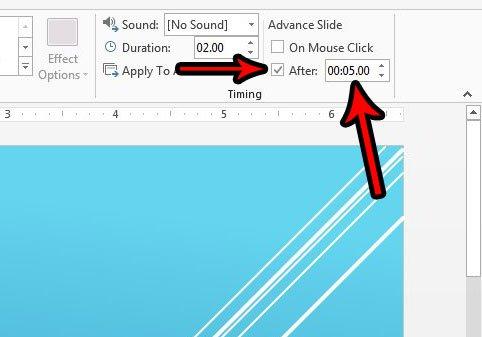 установить количество времени для каждого слайда