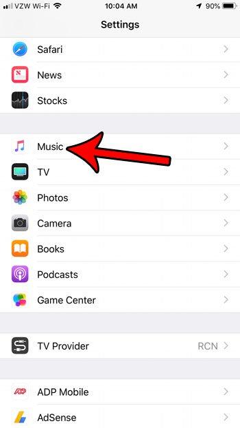 откройте настройки музыки на вашем iphone