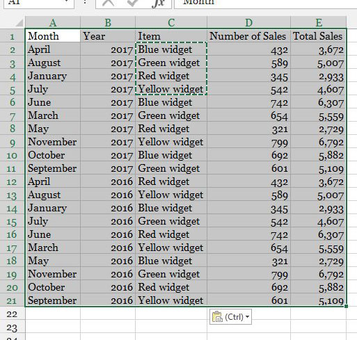 выберите данные для таблицы в Excel 2013