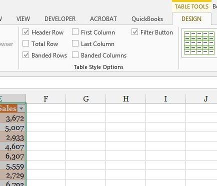 установить параметры стиля таблицы