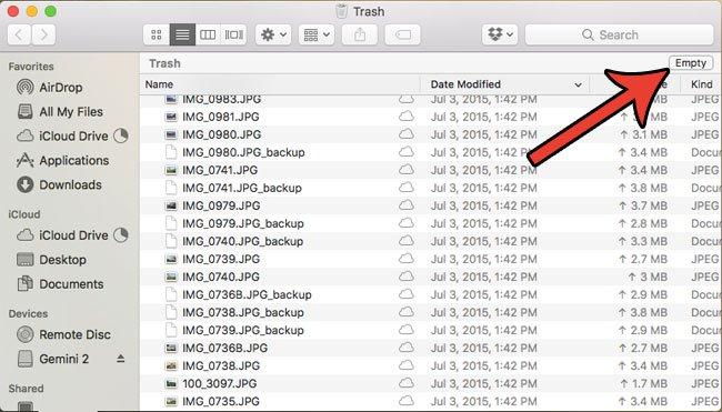 как удалить все мусорные файлы на MacBook Air