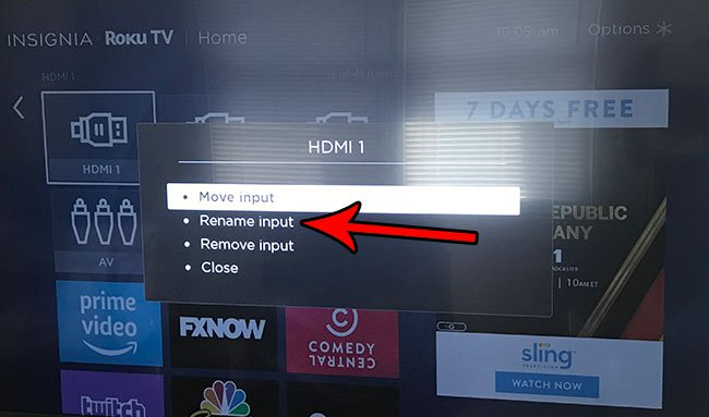 как изменить имя входа на roku tv