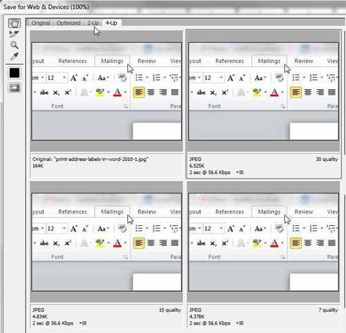 Сохранение 2-х и 4-х страниц для фотошопа в Интернете и на устройствах