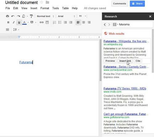 используя инструмент ссылки в Google Docs