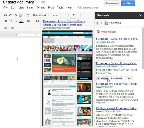используя опцию предварительного просмотра в инструменте исследования документов Google