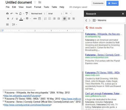 с помощью инструмента исследования, чтобы сделать цитаты в Google Docs