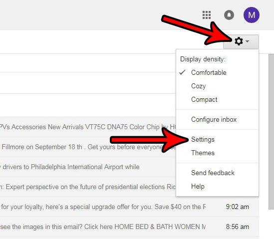 открыть настройки Gmail